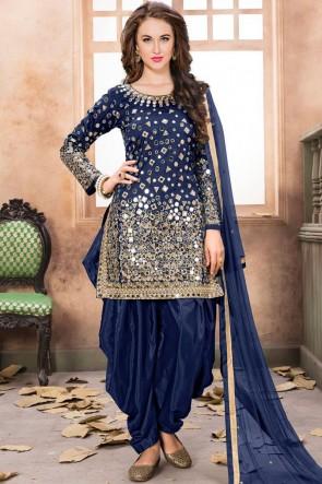 Net Blue Embroidered Mirror Work Designer Patiala Suit With Net Dupatta