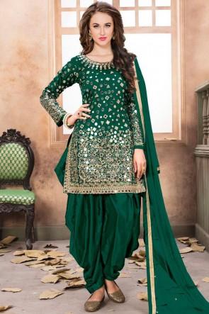 Green Net Embroidered Mirror Work Designer Patiala Suit With Net Dupatta