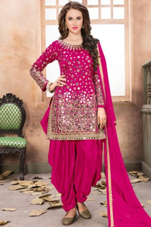 Pink Embroidered Mirror Work Net Fabric Patiala Suit With Net Dupatta
