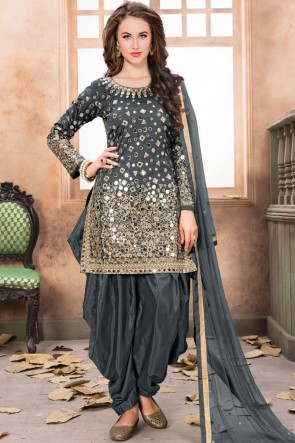 Net Grey Embroidered Mirror Work Designer Patiala Suit With Net Dupatta
