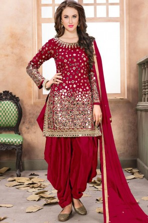 Embroidered Mirror Work Red Net Fabric Patiala Suit With Net Dupatta