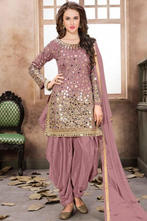 Baby Pink Net Embroidered Mirror Work Designer Patiala Suit With Net Dupatta