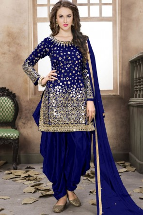 Blue Embroidered Mirror Work Net Fabric Patiala Suit With Net Dupatta