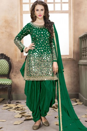 Net Green Embroidered Mirror Work Designer Patiala Suit With Net Dupatta