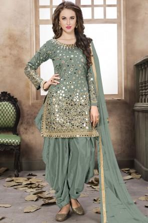 Sea Green Net Embroidered Mirror Work Designer Patiala Suit With Net Dupatta