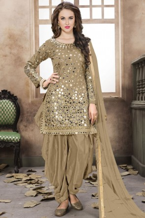 Beige Embroidered Mirror Work Net Fabric Patiala Suit With Net Dupatta