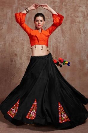 Black Tapeta Fabric Designer Embroidered Mirror Work Lehenga Choli With Cotton Dupatta