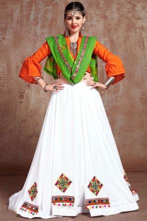 Cotton Fabric Embroidered Mirror Work Designer White Lehenga Choli With Cotton Dupatta