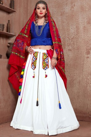 Designer White Cotton Fabric Embroidered Mirror Work Lehenga Choli With Cotton Dupatta