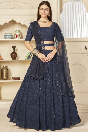 Navy Blue Georgette Fabric Designer Sequence Embroidered Thread Work Lehenga Choli With Net Dupatta