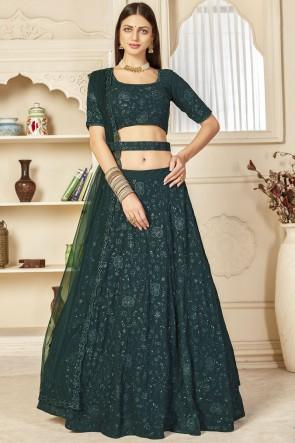 Georgette Fabric Designer Green Sequence Embroidered Thread Work Lehenga Choli With Net Dupatta