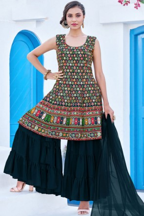Teal Blue Georgette Heavy Embroidered Work Designer Plazzo Suit With Net Dupatta