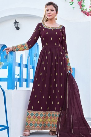 Wine Heavy Embroidered Work Georgette Fabric Anarkali Suit With Net Dupatta