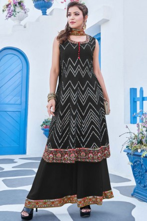 Heavy Embroidered Work Black Georgette Fabric Plazzo Suit With Net Dupatta