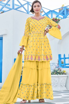 Yellow Georgette Heavy Embroidered Work Designer Plazzo Suit With Net Dupatta