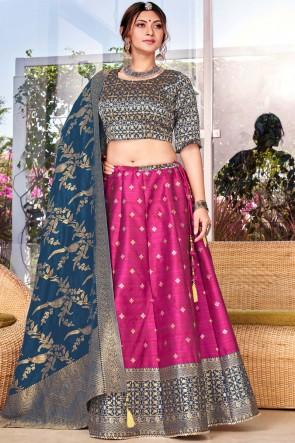 Silk Fabric Designer Weaving With Stone Work Pink Lehenga Choli With Banarasi Silk Dupatta