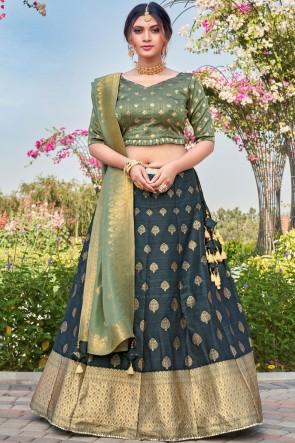 Silk Fabric Weaving With Stone Work Designer Multi Lehenga Choli With Banarasi Silk Dupatta