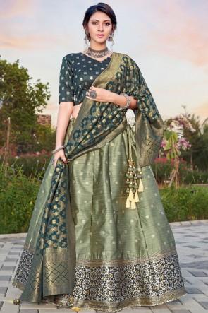 Weaving With Stone Work Designer Sea Green Silk Fabric Lehenga Choli With Banarasi Silk Dupatta