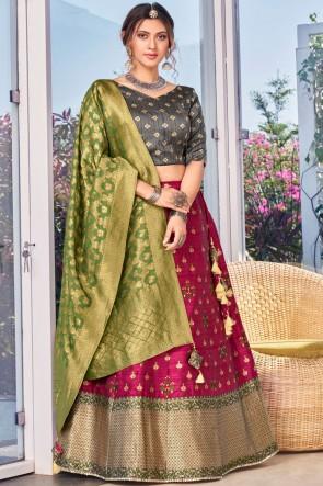 Silk Fabric Weaving With Stone Work Designer Pink Lehenga Choli With Banarasi Silk Dupatta