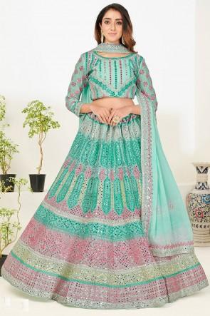 Aqua Georgette Fabric Zari Embroidered With Mirror Work Designer Lehenga Choli With Georgette Dupatta