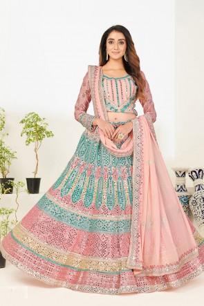 Georgette Fabric Designer Zari Embroidered With Mirror Work Pink Lehenga Choli With Georgette Dupatta