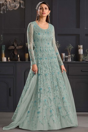 Multi Embroidered Thread Work Net Fabric Western Suit With Net Dupatta