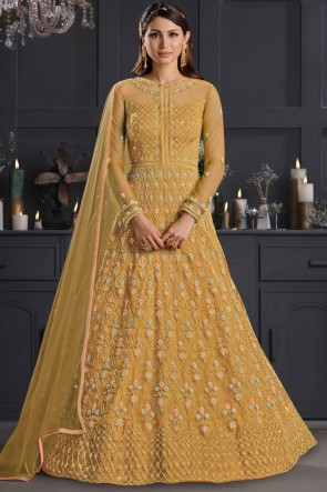 Musterd Net Embroidered Thread Work Western Suit With Net Dupatta