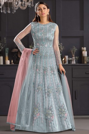 Embroidered Thread Work Net Multi Western Suit With Net Dupatta