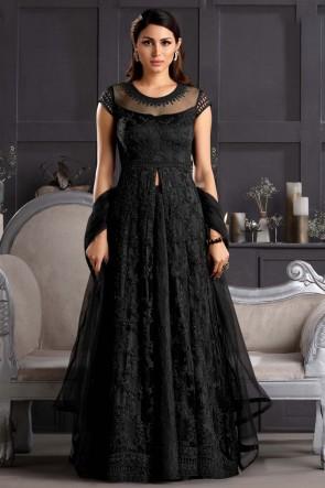 Net Black Embroidered Thread Work Western Suit With Net Dupatta