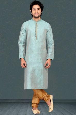 Aqua Bhagalppuri Fabric Kurta Payjama