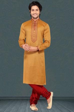 Brown Jacqaurd Silk Fabric Kurta Payjama