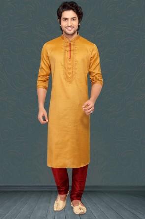 Jacqaurd Silk Fabric Musterd Stylish Kurta Payjama