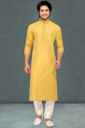 Yellow Cotton Fabric Kurta Payjama