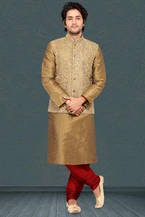 Poly Silk Fabric Khaki Kurta Payjama With Khaki Jacket
