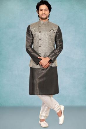 Poly Silk Fabric Grey Stylish Kurta Payjama With Grey Jacket