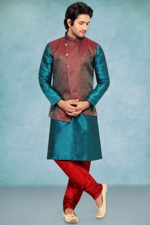 Green Poly Silk Fabric Kurta Payjama With Maroon Jacket