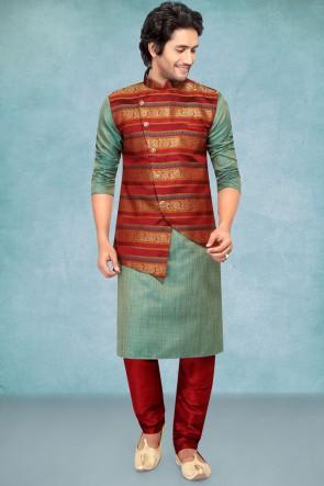 Jacqaurd Silk Fabric Green Stylish Kurta Payjama With Red Jacket