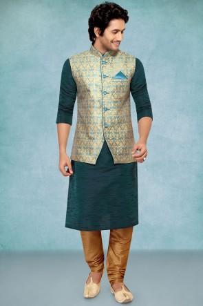 Poly Silk Fabric Teal Blue Stylish Kurta Payjama With Blue Jacket