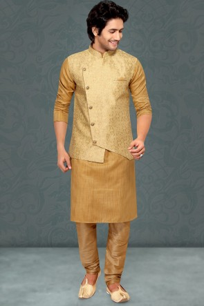 Golden Jacqaurd Silk Fabric Kurta Payjama With Golden Jacket