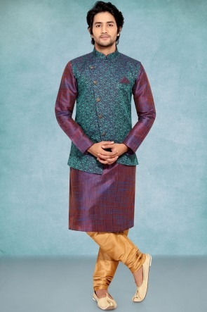 Purple Geecha Fabric Kurta Payjama With Green Jacket