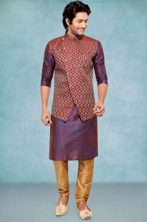 Geecha Fabric Purple Kurta Payjama With Purple Jacket
