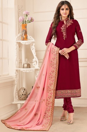 Ultimate Georgette Satin Maroon Embroidered Salwar Suit With Faux Georgette Dupatta