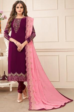 Marvelous Georgette Purple Salwar Kameez With Faux Georgette Dupatta