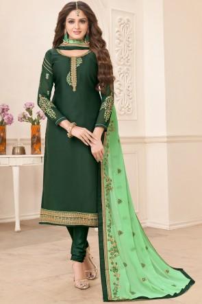 Party Wear Mehendi Green Georgette Satin Salwar Suit With Faux Georgette Dupatta