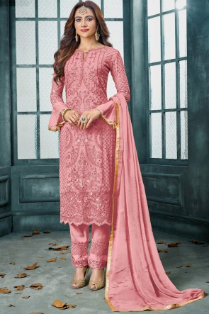 Peach Diwali Special Classic Embroidered Georgette Salwar Suit With Nazmin Dupatta And Santoon Bottom