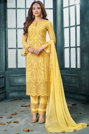 Party Wear Yellow Charming Embroidered Georgette Salwar Kameez With Nazmin Dupatta And Santoon Bottom