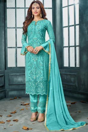 Sky Blue Beautiful Georgette Embroidered Salwar Suit With Nazmin Dupatta And Santoon Bottom