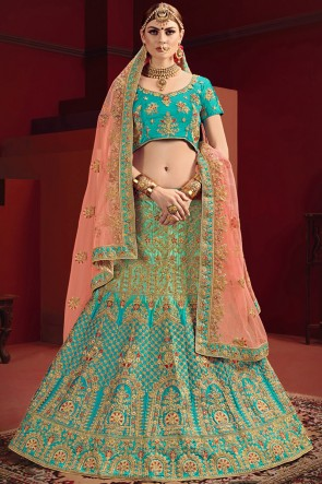 Sea Green And Peach Satin Fabric Stone Work And Zari Work Lehenga Choli With Net Dupatta