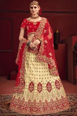 Ultimate Beige And Red Zari Work And Thread Satin Fabric Lehenga Choli