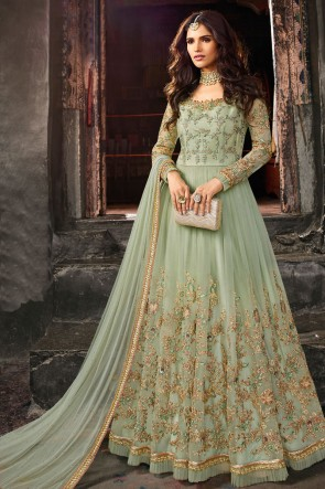 Beautiful Pista Embroidery Work Net Fabric Abaya Style Anarkali Suit And Dupatta